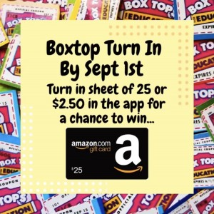 BoxTops due Sept. 1st