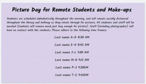Schedule for picture day