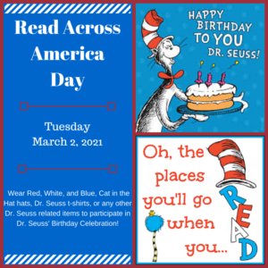 Read Across America Day, Tuesday March 2nd